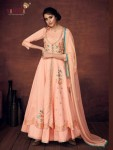 VAMIKA CRIMSYN ROYAL SILK LONG GOWN READYMADE SALWAR SUITS ( 4 PCS CATALOG )