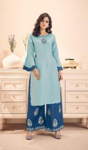 Gulkand Morror Kurti With Palazzo (8 pc catalog)