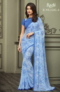 TFH Ruchi Jasmine Georgette Saree ( 6 Pcs Catalog )