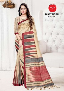 Apple Fancy Digital print Sarees ( 4 Pcs Catalog )