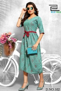 Blue Hills Crackers Vol-1 Rayon Kurti ( 8 Pcs Catalog )