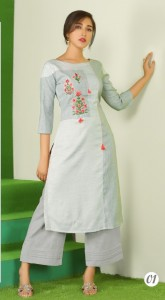 Silver Rayon Kurti with Plazzo(6 Pcs Cataloge)