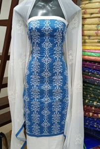 Denim Cotton Embroidery Suits (4PC Set)