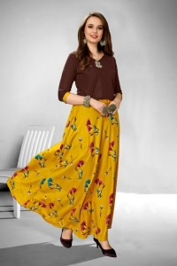 Vee Fab Kitty Party Rayon Kurtis & Skirt (4 pcs Catalog