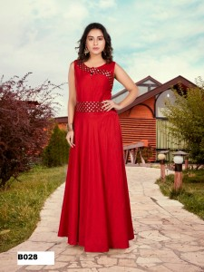 Banglori Slub Party Wear Gown