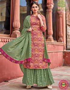 Kajal Style Gulzar Vol-3 Kurti With Palazzo Pant And Sharara ( 8 Pcs Catalog )