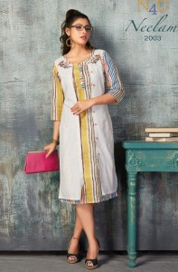 N4U Neelam Cotton Jacket Style Fancy Kurtis ( 6 Pcs Catalog )