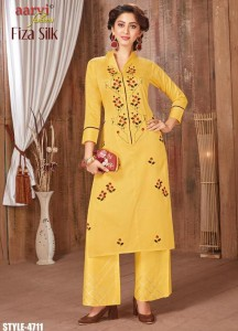 Aarvi Fashion Fiza Silk Vol-1 Kurti With Palazzo ( 6 Pcs Catalog )