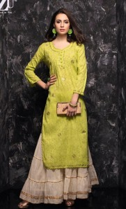 TZU Lifestyle Geetika Jacquard Kurties with Sharara ( 6 pcs catalog )