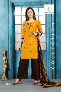 Lehariya vol-1 Rayon with embroidery work Suits( 6 pc set )