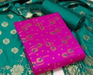 Banarasi Silk Dress material With Silk dupatta  ( 6 Pc set )