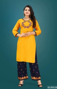 Trendy Plazzo Queen  Rayon Kurtis With Plazzo ( 8 Pcs Catalog )