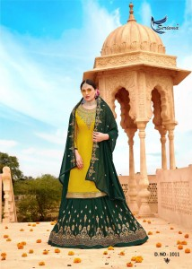 SERIEMA SHAHNAZ GEORGETTE LEHENGA WITH READYMADE SUITS ( 4 PCS CATALOG )