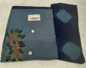 Slub Cotton On Patch Work Top Dress Material