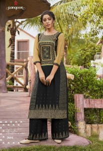 RANGOON DARK FANTASY RAYON KURTI AND PLAZZO ( 4 PCS CATALOG )