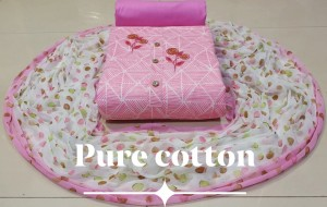 Top Pure lawn Jaipur Cotton With Work Dress Material ( 4 Pcs catalog )