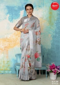 Apple Sushmaa Soft Linen Cotton Digital Print Sarees ( 12 Pcs Catalog )