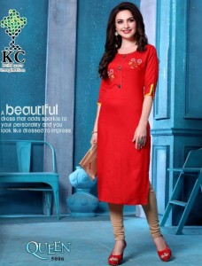 KC Queen Vol - 5 Rayon Slub Kurtis ( 8 Pcs Catalog )