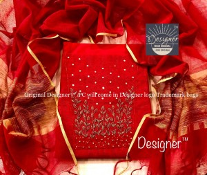 Xmas Special Red Banarasi Noil Hand Work Dress Material