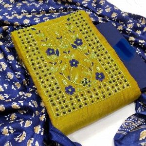 Silk Chanderi HandWork Dress Material ( 4 Pcs Catalog )