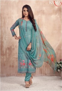 Karma Lamha Georgette Embroidery Digital Print collections (6pc Catalog)