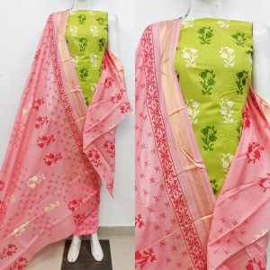 Beautiful Block Printed with Beautiful Dupatta Dress Material (8 Pcs Catalog )