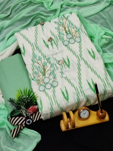 Top Pure Soft Cotton with Neck Button n Handwork Dress Material ( 4 Pcs Catalog )
