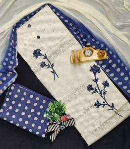 Top Soft Cotton With Flower Work ( 4 pc Set )
