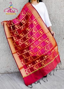 Beutiful Banarsi Gold Zari Jumkha Work Chanderi Dupatta ( 4 pc set )