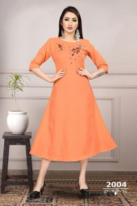 Heavy Ruby Slub Cotton Sunehri Vol-2 Kurtis ( 6 Pcs Catalog )