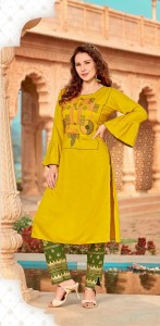 RSf Mahi Vol-1 Heavy Rayon with Embroidery Kurti With Pant ( 4 Pcs Catalog )