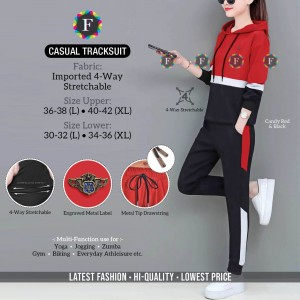 Casul Tracksuit Imported 4-Way Stretchable Striped Design with Pocket (