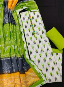 Ikkat Soft Cotton Prints With Neck Potali Patchwork Dress Material ( 4 Pcs Catalogue )