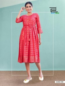 BLUE HILLS SHINE FANCY WEAR KURTI ( 10 pcs CATALOGUE )