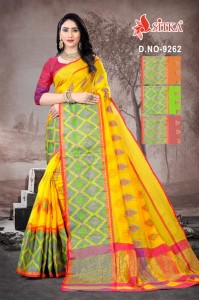 Sitka Saree Ikkat Sharp 9262 Casual Wear Handloom Cotton Sarees Collection ( 4 Pcs Catalog )