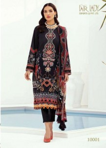 FAIRLADY BAROQUE FARASHA LAWN COTTON WITH EMBROIDERY  DRESS MATERIAL (  7 PCS CATALOG )