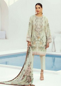 FAIRLADY BAROQUE FARASHA LAWN COTTON WITH EMBROIDERY  DRESS MATERIAL (  7 PCS CATALOG ) CHIFFON DUPATTA