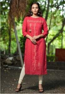 Psyna peacock Pure Cotton With Zari Kurti ( 8 Pcs Catalog )