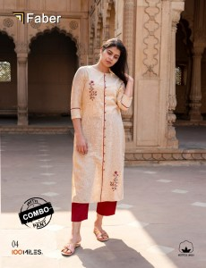 100 Miles Faber Cotton Kurtis With Pants Kurti ( 6 Pcs Catalog )
