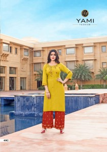 YAMI FASHION CHEMISTRY RAYON EMBROIDERY KURTI WITH PLAZZO  ( 7 Pcs Catalog )